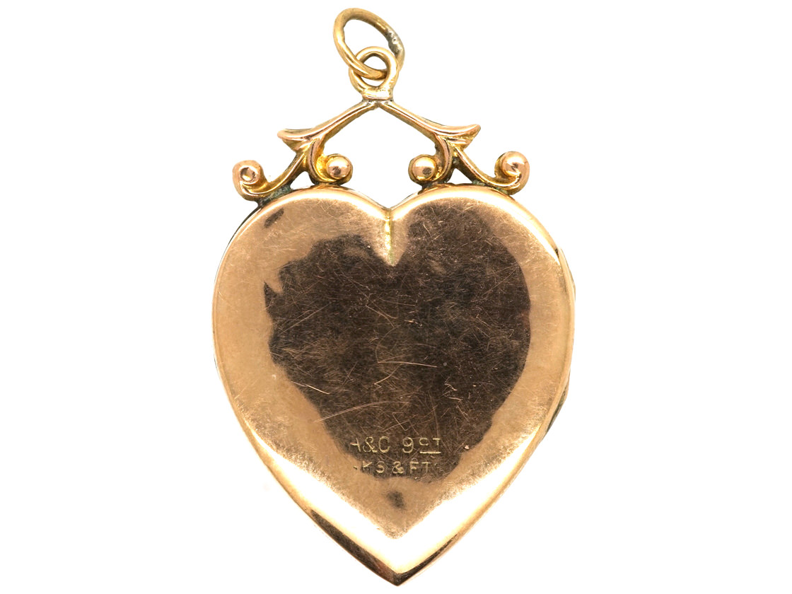 Edwardian 9ct Gold Back & Front Heart Shaped Locket With Flower Motif