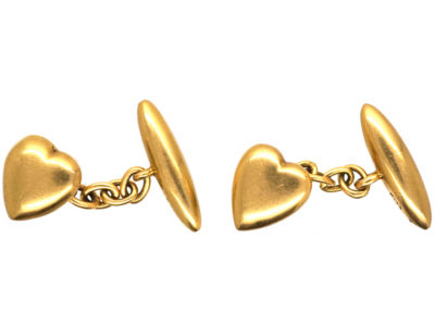 Edwardian 18ct Gold Heart Cufflinks