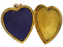 Edwardian 9ct Gold Heart Locket With a Flower Motif Set With Paste