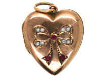 Edwardian 9ct Back & Front Locket With A Bow Motif Set With Garnets & Pearls