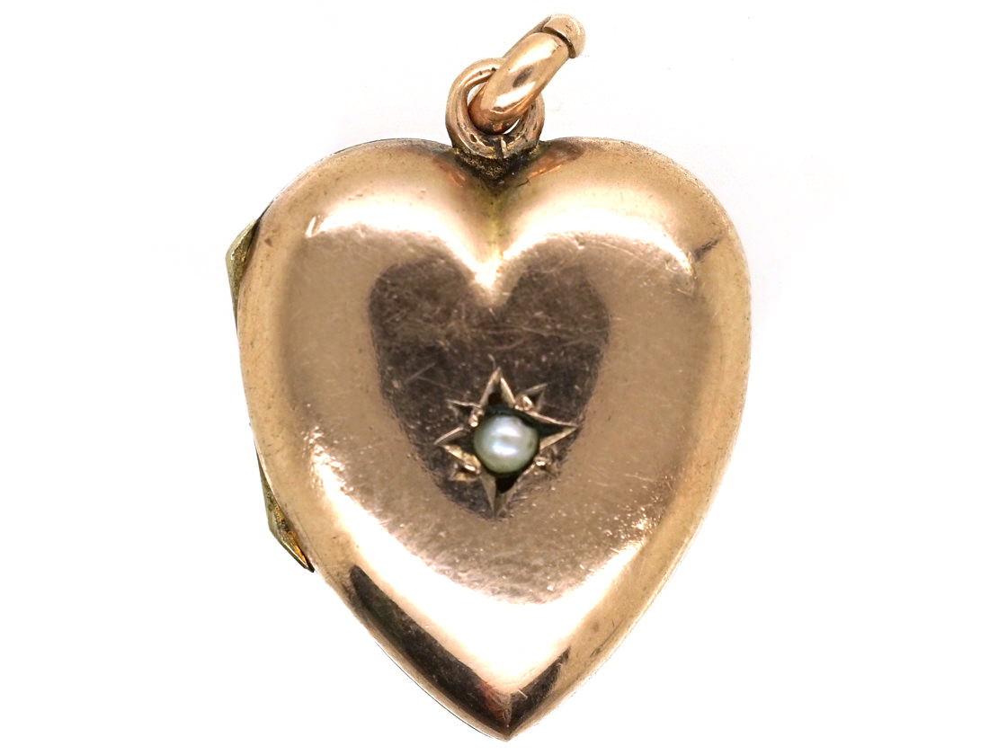 Edwardian 9ct Gold Heart Shaped Locket Set With a Pearl