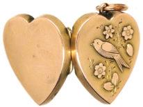 Edwardian 9ct Gold Heart Shaped Locket With Swallow Motif