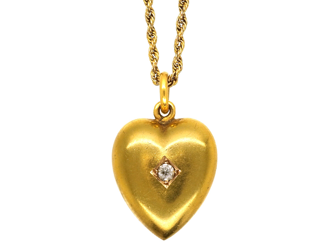 Edwardian 15ct Gold Heart Pendant Set With a Diamond on a 15ct Gold Chain