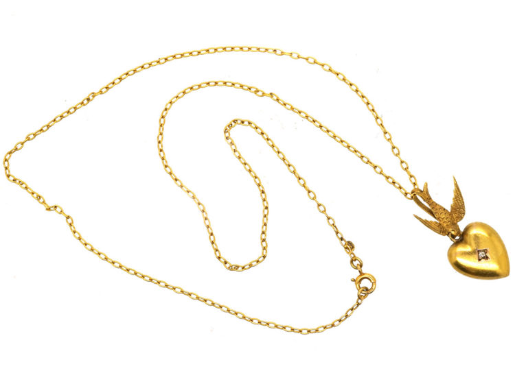 Edwardian 15ct Gold Swallow & Heart Pendant on 9ct Gold Chain