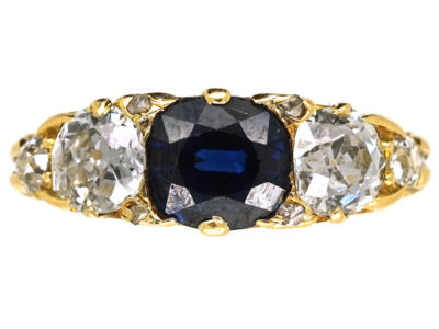 Victorian 18ct Gold, Carved Half Hoop Sapphire & Diamond Three Stone Ring