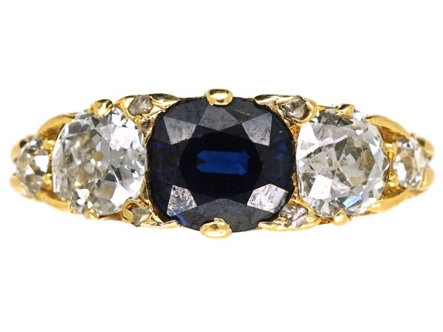 Victorian 18ct Gold, Carved Half Hoop Sapphire & Diamond Three Stone Ring