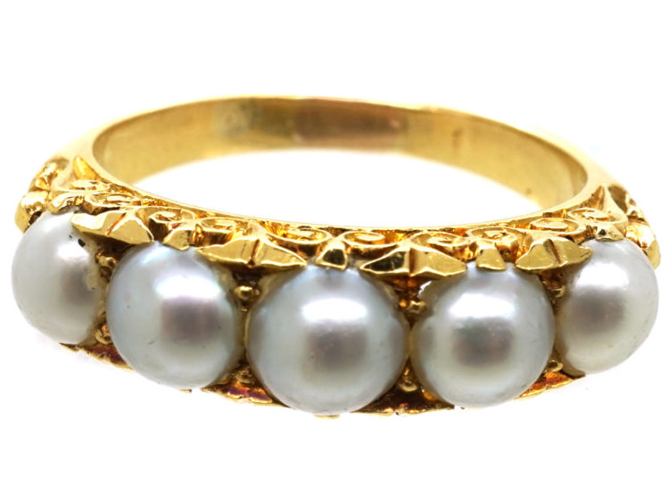 Victorian 18ct Gold, Carved Half Hoop Ring Set With Natural Split Pearls