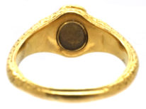 Georgian 18ct Gold Memorial Ring Set With Turquoise