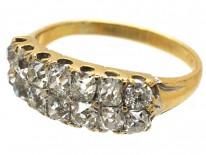 18ct Gold Two Row Old Mine Cut Diamond Ring Circa 1840