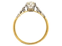 18ct Gold & Platinum, Diamond Solitaire Ring With Diamond Set Shoulders
