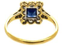 Art Deco 18ct Gold, Platinum, Sapphire & Diamond Rectangular Ring
