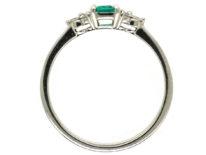 Platinum, Emerald & Diamond Ring