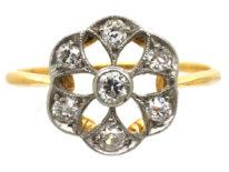 Edwardian 18ct Gold & Platinum Diamond Set Pierced Daisy Ring