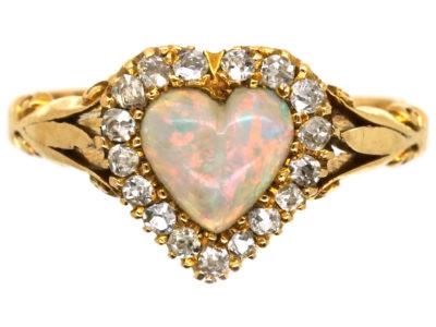 Edwardian 18ct Gold, Opal & Diamond Heart Shaped Ring