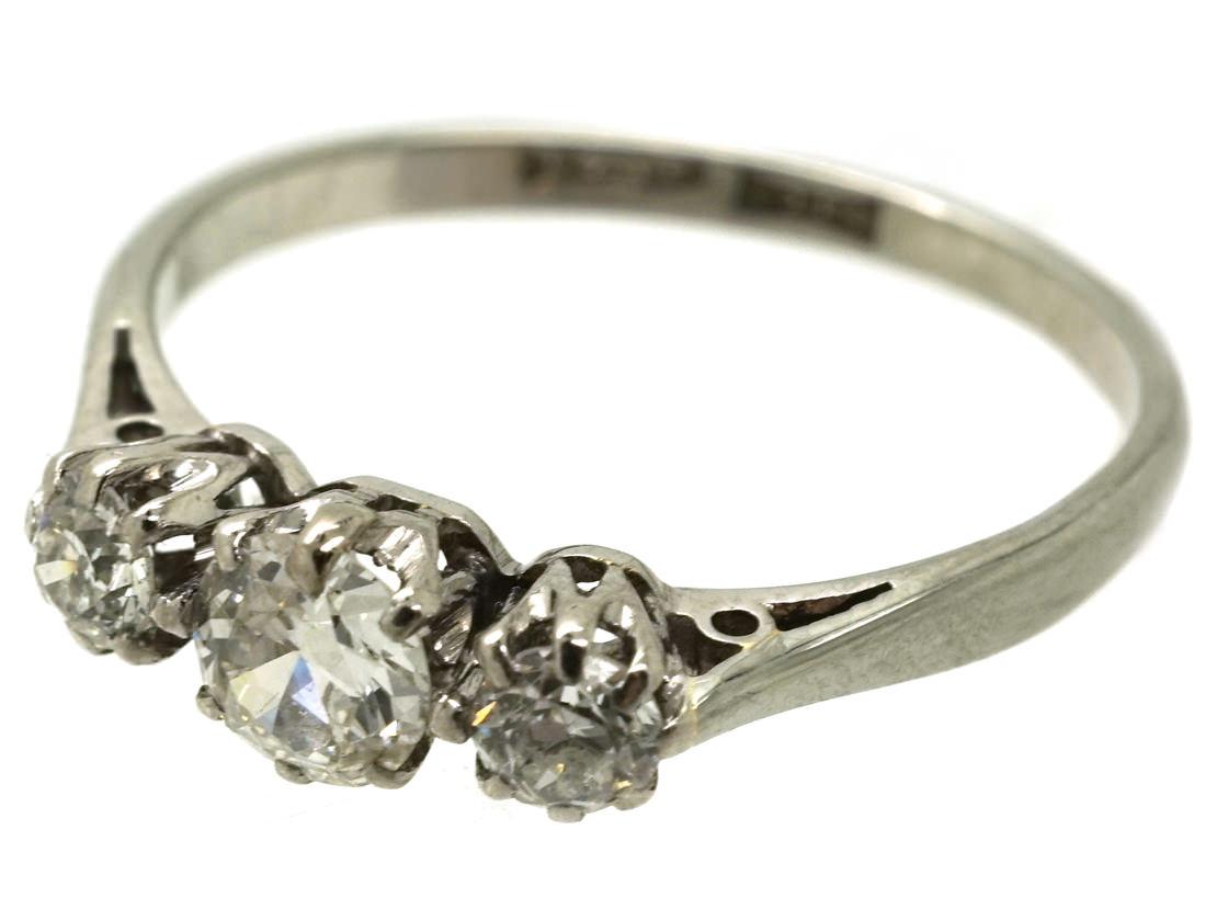 18ct White Gold & Platinum Three Stone Diamond Ring