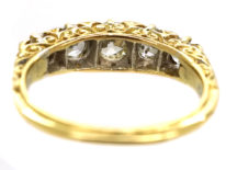 Victorian 18ct Gold Five Stone Diamond Carved Half Hoop Ring With Reeded Shank