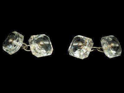 Art Deco Rock Crystal & Silver Cufflinks
