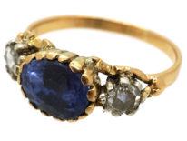 Georgian 18ct Gold, Sapphire & Rose Diamond Ring
