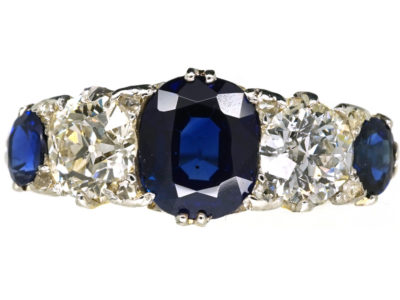Victorian 18ct Gold Five Stone Sapphire & Diamond Carved Half Hoop Ring