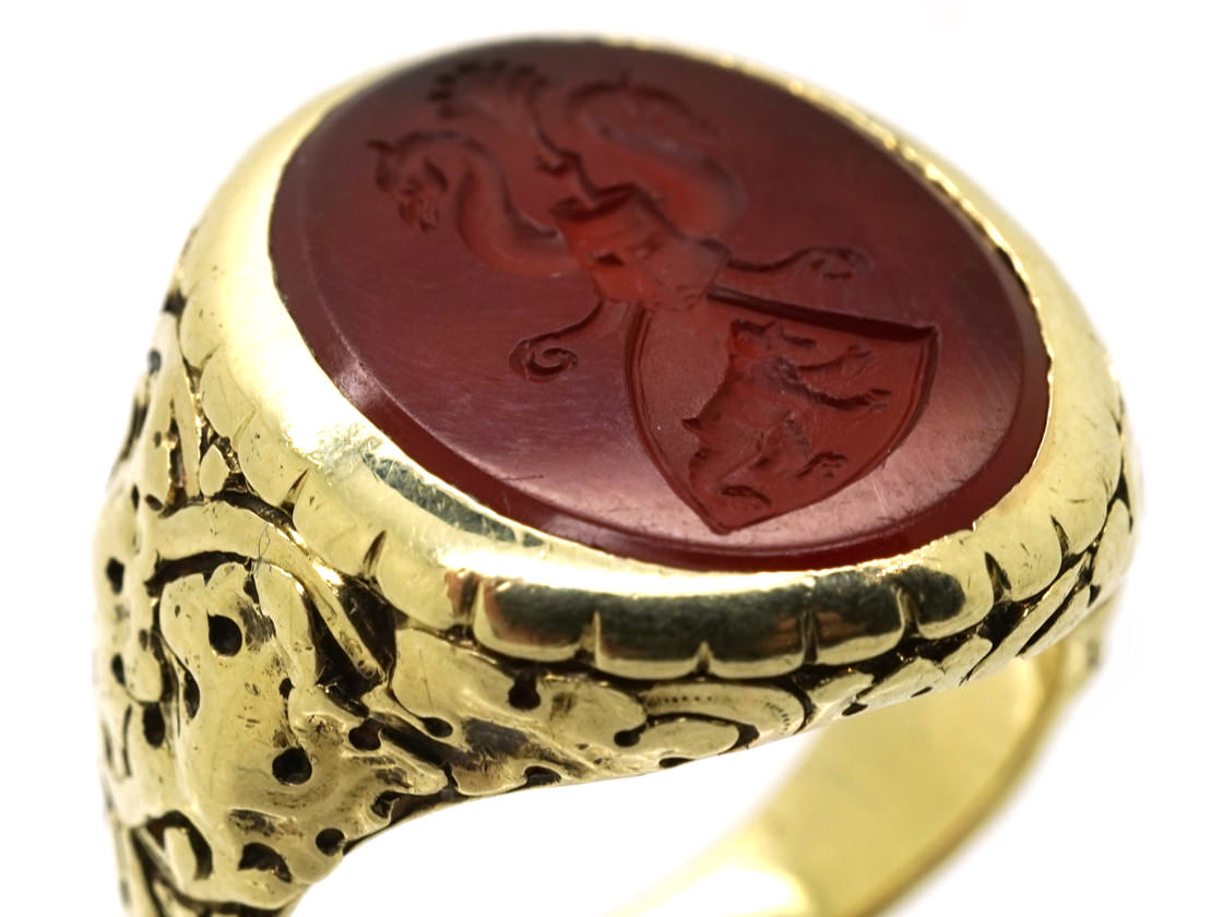 14ct Gold Signet Ring With Carnelian Intaglio of Two Swans & A Bear