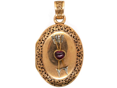 French 18ct Gold Oval Shaped Locket With Two Arrows & a Heart