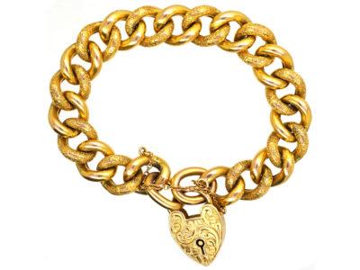 Edwardian 9ct Gold Curb Bracelet With Alternate Engraved & Plain Links