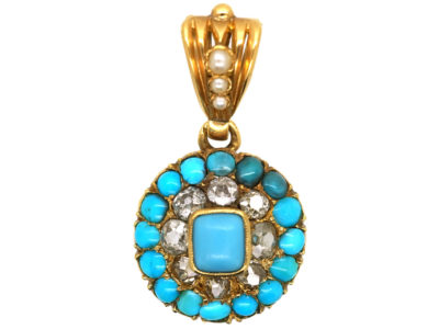 Victorian 18ct Gold, Turquoise, Natural Split Pearl & Diamond Pendant