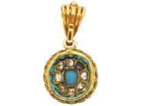 Victorian 18ct Gold, Turquoise, Natural Split Pearl & Diamond Pendant