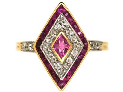 Art Deco 18ct Gold & Platinum, Ruby & Diamond, Diamond Shaped Ring