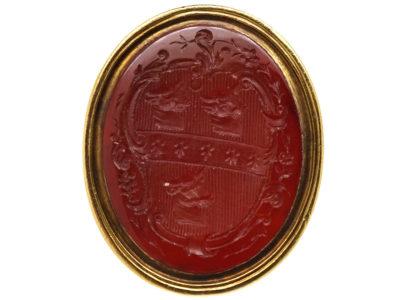 Georgian 18ct Gold Seal With Oval Carnelian Intaglio