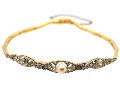 Edwardian 15ct Gold & Platinum, Pearl & Diamond Bracelet