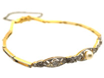 Edwardian 15ct Gold & Platinum, Pearl & Diamond Bracelet