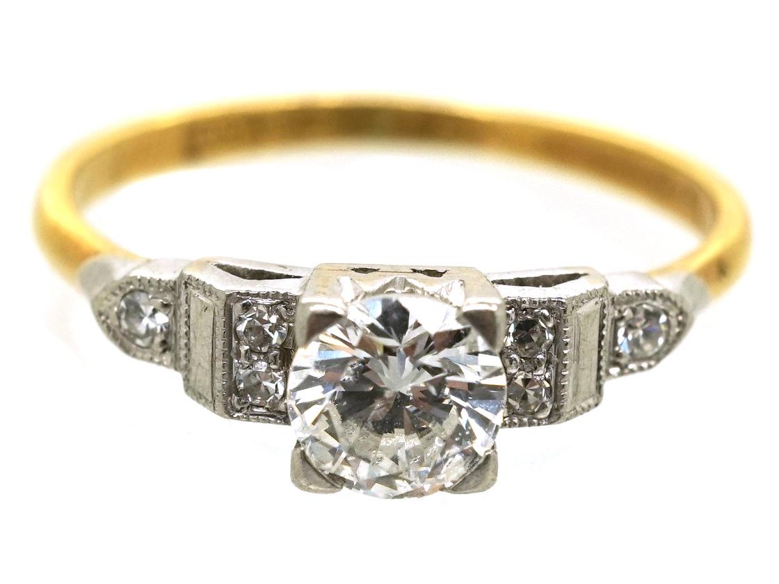 Art Deco 18ct Gold & Platinum, Diamond Solitaire Ring With Step Cut Diamond Shoulders