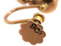 Edwardian 9ct Gold & Flat Cut Garnet Drop Earrings