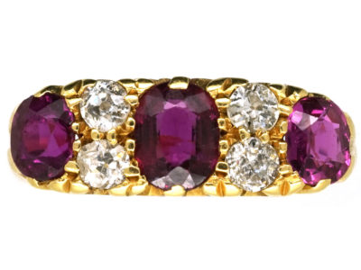 Edwardian 18ct Gold Three Stone Ruby & Diamond Carved Half Hoop Ring