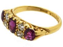 Edwardian 18ct Gold Three Stone Ruby & Diamond Carved Half Hoop Ring