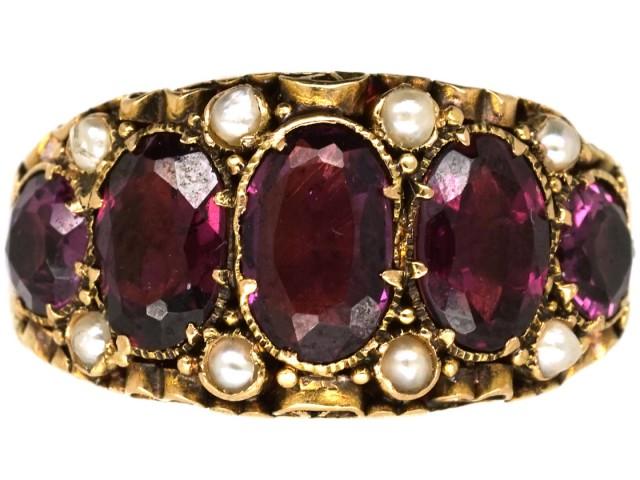 Victorian 15ct Gold, Almandine Garnet & Natural Split Pearls Ring
