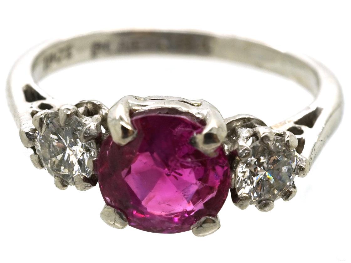 18ct White Gold & Platinum, Burma Ruby & Diamond Three Stone Ring
