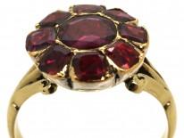 Georgian 18ct Gold Flat Cut Almandine Garnet Cluster Ring
