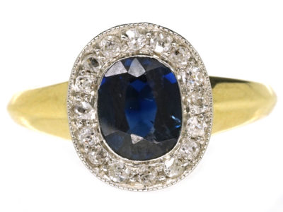 14ct Gold Sapphire & Diamond Oval Shaped Ring