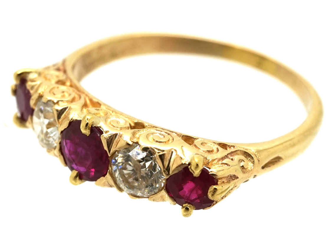 Edwardian 18ct Gold, Ruby & Diamond Carved Half Hoop Five Stone Ring