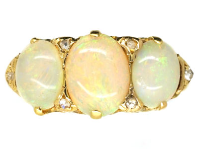 Edwardian 18ct Gold, Three Stone Opal & Diamond Ring
