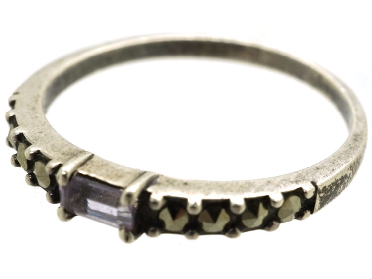Silver Narrow Ring Set With Marcasite & Pink Paste