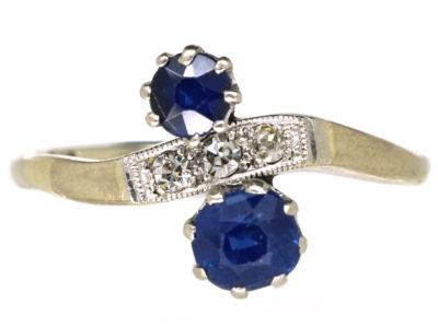 Edwardian 18ct Gold & Platinum, Two Stone Sapphire & Diamond Ring