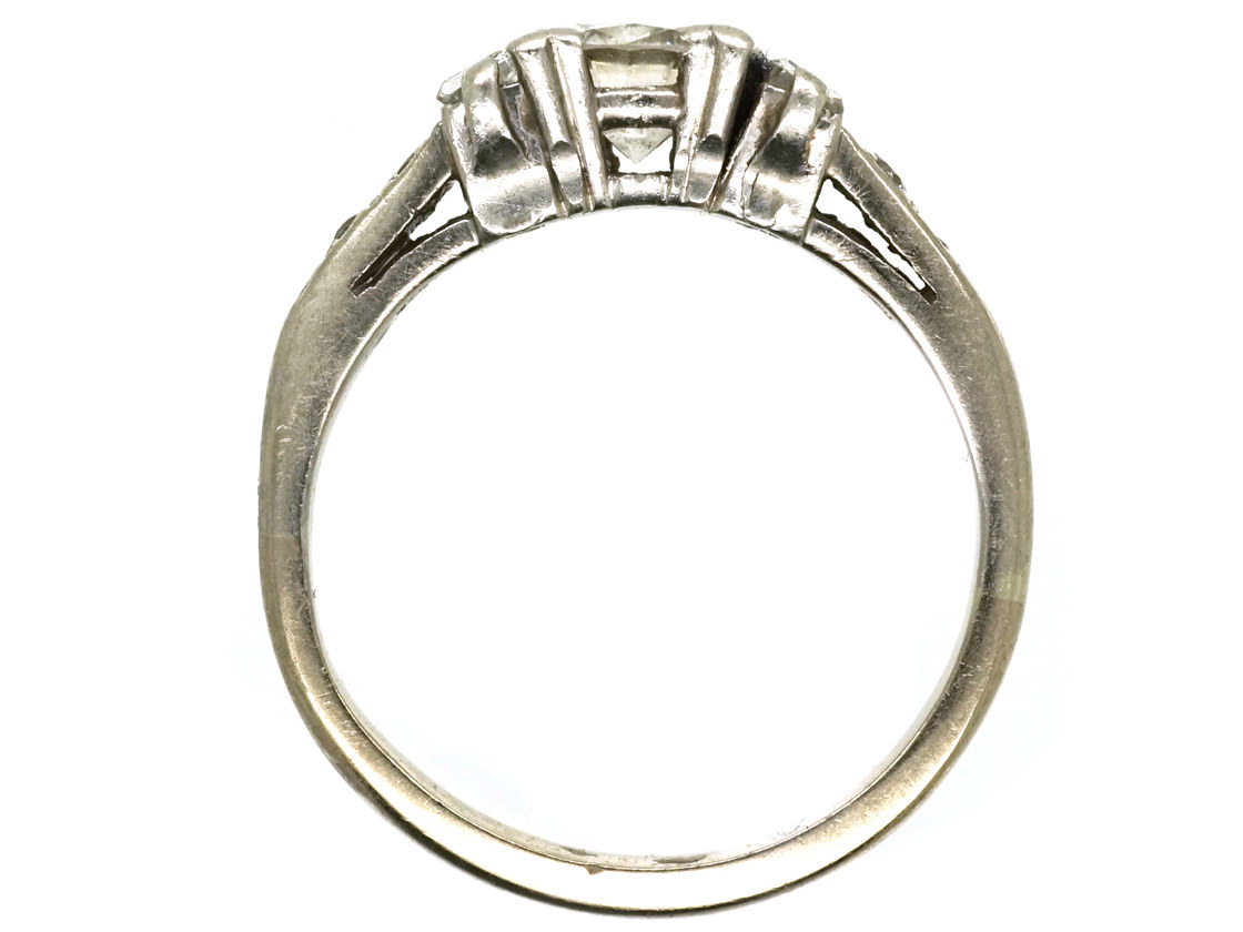 Art Deco 18ct White Gold, Solitaire Diamond Ring With Baguette Diamonds on Either Side