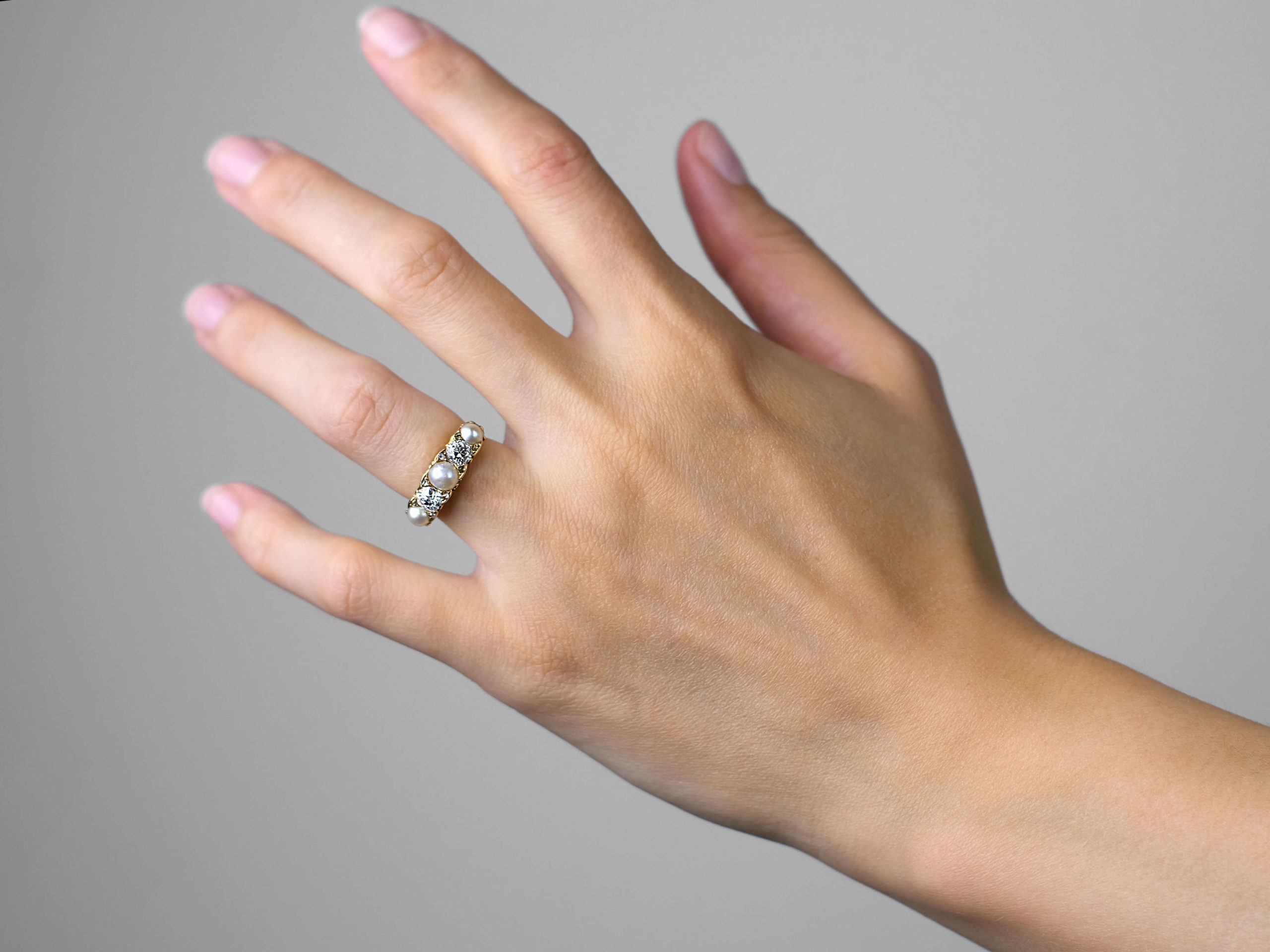 Victorian 18ct Gold Diamond & Natural Pearl Carved Half Hoop Ring