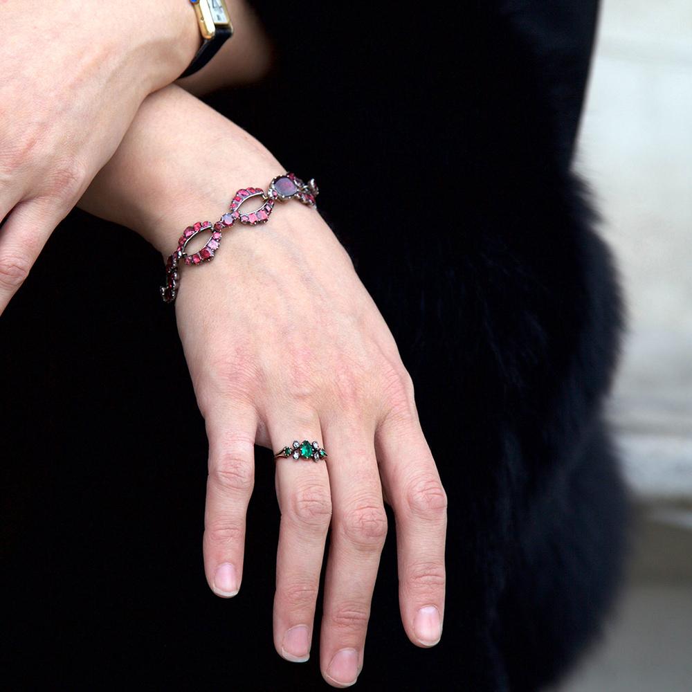 Georgian 15ct Gold Pear Shaped Emerald & Diamond Ring