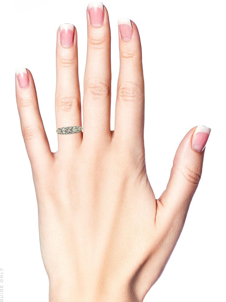 Edwardian 18ct Gold & Platinum Five Stone Diamond Carved Half Hoop Ring