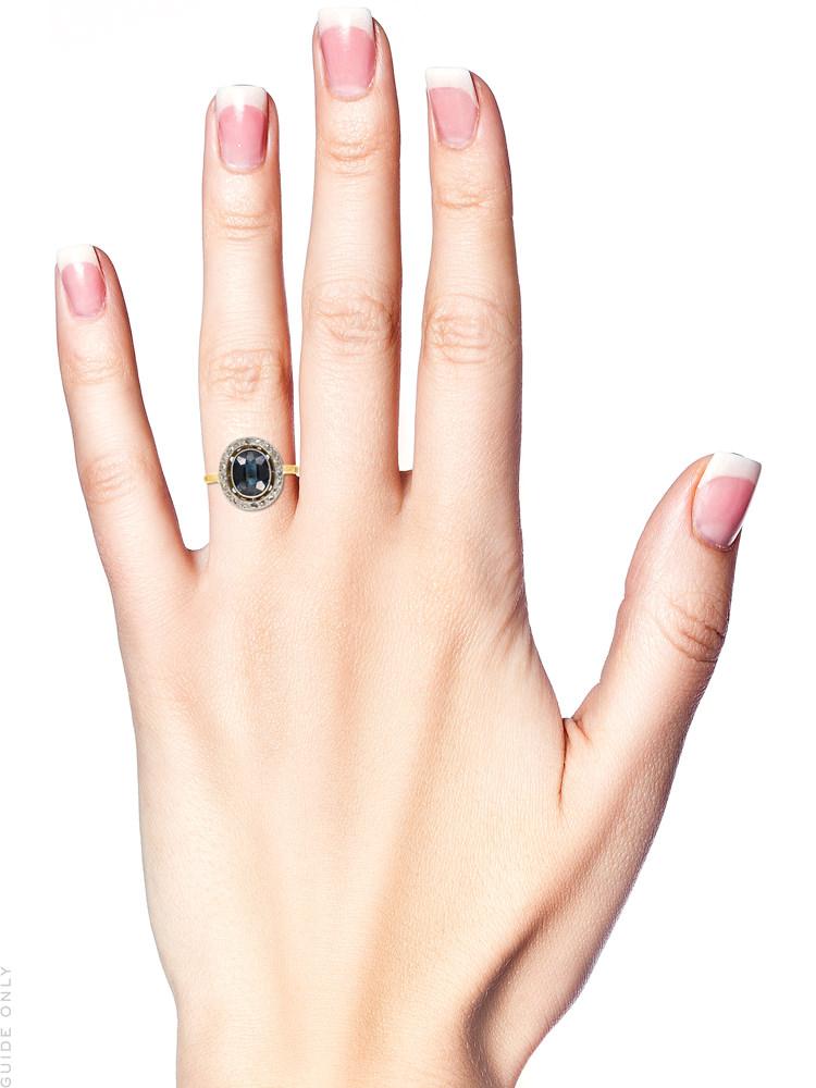 Edwardian 18ct Gold,Platinum, Sapphire & Diamond Oval Cluster Ring