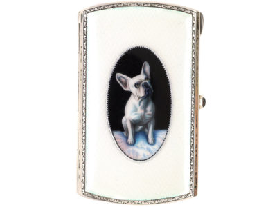 Edwardian Silver Case with Enamel of French Bull Dog